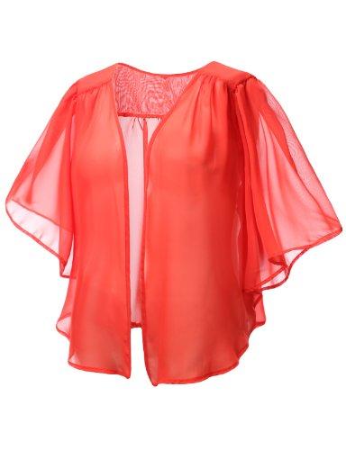 J.TOMSON PLUS Womens Open Chiffon Cardigan Plus Size ORANGE X-LARGE
