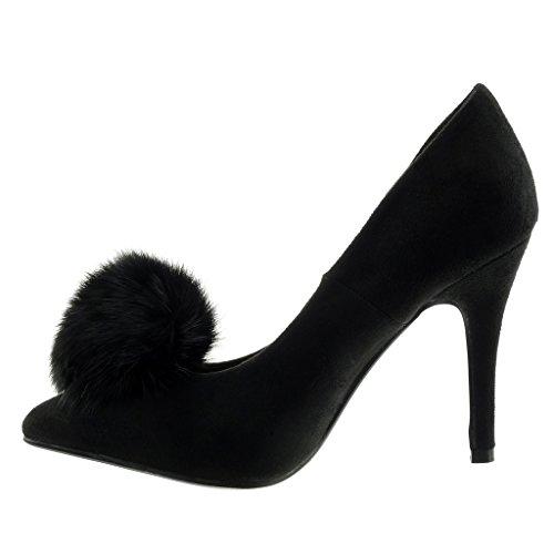 stiletto Talon aiguille 10 pom femme Noir Chaussure Angkorly haut Escarpin Decolleté Mode pom CM 8wPtvqB