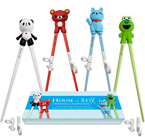 House of Stix Training chopsticks for kids adults and beginners - 4 Pairs chopstick set with attachable learning chopstick helper - right or left - Kids Silver Trainer