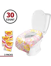 Banana Basics Flushable Disposable Paper Toilet Seat Cover (3 Packs, 10 Each) Kid-Friendly, X-Large Coverage   Promotes Proper Hygiene, Cleanliness   Reduce Germs, Messes   (Flowers,30 Pack)