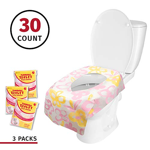 Banana Basics Flushable Disposable Paper Toilet Seat Cover (3 Packs, 10 Each) Kid-Friendly, X-Large Coverage | Promotes Proper Hygiene, Cleanliness | Reduce Germs, Messes | (Flowers,30 Pack) (Best Eco Friendly Toilets)