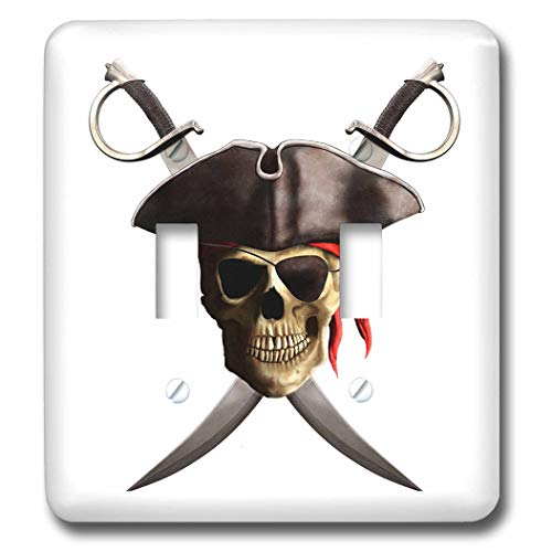 3dRose MacDonald Creative Studios - Nautical - Classic pirate skull, The Jolly Roger, with two crossed pirate swords. - Light Switch Covers - double toggle switch -