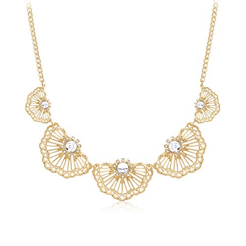 T-Doreen Gold Sector Collar Necklace for Women Girls Flower Rhinestone Bib Statement Necklaces