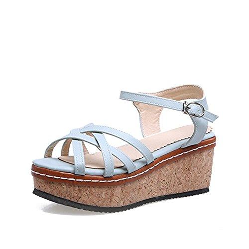 VogueZone009 Women's Buckle Open Toe High Heels Solid Sandals Lightblue iFDBeSLt