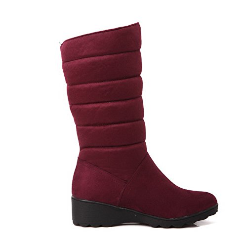 Boots Heels Frosted top Low Women's Toe Claret Round Closed AgooLar Solid Low 4w1H7