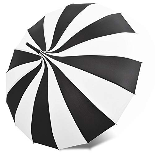Kung Fu Smith Retro Pagoda Umbrella Parasol for Women and Girls, Sun UV Protection Rain Umbrella - Black and White (Sunny Rainbow Nylon Umbrella Parasols)