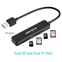 Cateck USB3.0 4-Slot Card Reader with dual SD and dual Micro SD slots