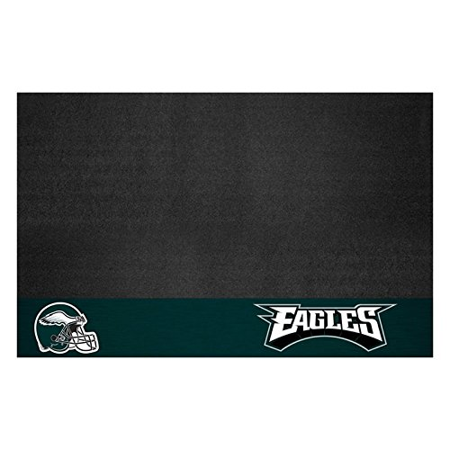 AM 42 X 26 Inch Eagles Grill Mat, Football Themed Outdoor Deck Patio Non Curling Area Rug Carpet Sports Patterned, Team Color Logo Fan Merchandise Athletic Spirit Green Black, Vinyl