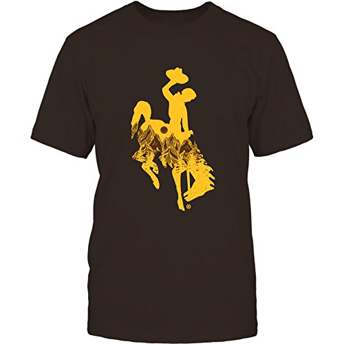 FanPrint Wyoming Cowboys T-Shirt - Mountain Mascot - Men's Tee/Brown/XL