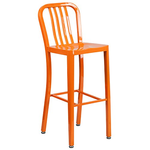 Flash Furniture 30 High Orange Metal Indoor-Outdoor Barstool with Vertical Slat Back