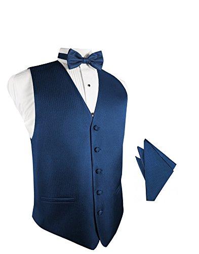 Herringbone Tuxedo Vest (Sapphire Herringbone Tuxedo Vest with Bowtie & Pocket Square Set)