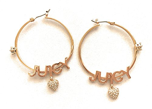 Juicy Couture Heart Earrings - Juicy Couture Goldtone Hoop Earrings - J U I C Y with Dangle Heart