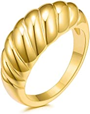 JINEAR 18k Gold Plated Croissant Braided Twisted Signet Chunky Dome Ring Stacking Band for Women Jewelry Minim