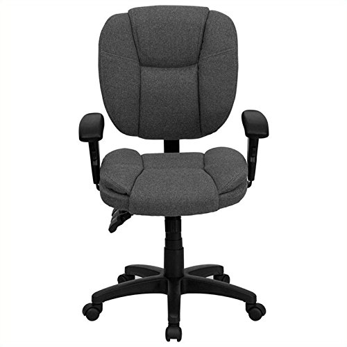 Flash Furniture Mid-Back Gray Fabric Multifunction Ergonomic Swivel Task Chair with Adjustable Arms
