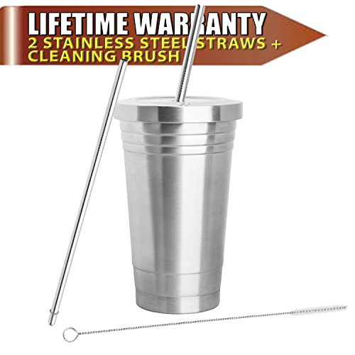 stainless-steel-tumbler-16oz-with-2-stainless-steel-straws-cleaning-brush-dual-layer-insulation-trav