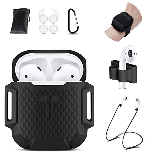 AirPods Case, 8 in 1 AirPods Accessories Silicone Airpods Protective Cover Set with Clip Holder/Keychain/Strap/Earhooks/Soft Storage Bag/Airpods Case Band for Apple Airpod (Diamond Black) by GIM