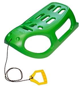 Kunststoff Schlitten Kinderschlitten Rodelschlitten Racer Bob mit Zugseil (Grün)