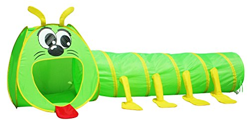 Big Mouth Caterpillar Tent 2pc Pop-up Children Play Tunnel Kids Discovery Station by POCO DIVO (Tunnel Kids Play)