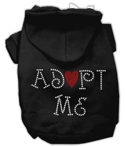 Mirage Pet Products 14-Inch Adopt Me Rhinestone Hoodie, Large, Black