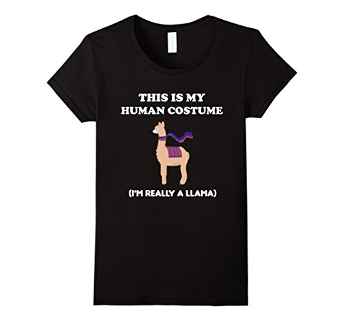 Womens Funny Llama T-Shirt Gift This Is My Human Costume Tee Medium Black (Peru Un Costume)