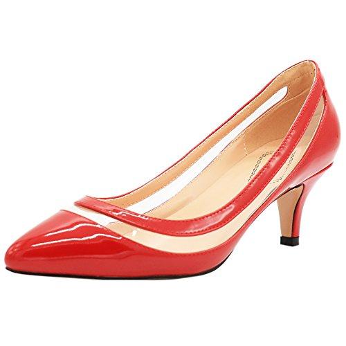 EKS - Zapatos de tacón fino Mujer Rojo - Rot-Lackleder