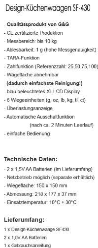 G/&G SF430 10kg//1g Digitale Küchenwaage Zählfunktion LCD Display blau beleuchtet