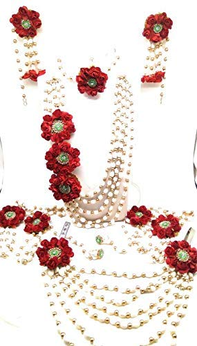 Buy Mayoo Floret Red White Gota Patti Necklace Earrings Hath