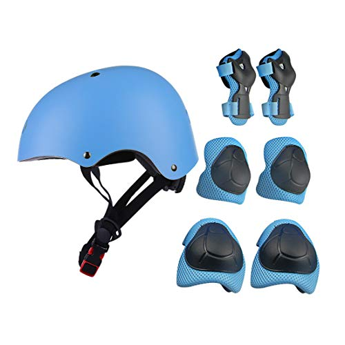 7Pcs Kids Sports Safety Protective Gear Set, RuiyiF Elbow Pad Knee Support Wrist Guard and Helmet for Children Skateboard Skating Blading Cycling Riding - Blue ()