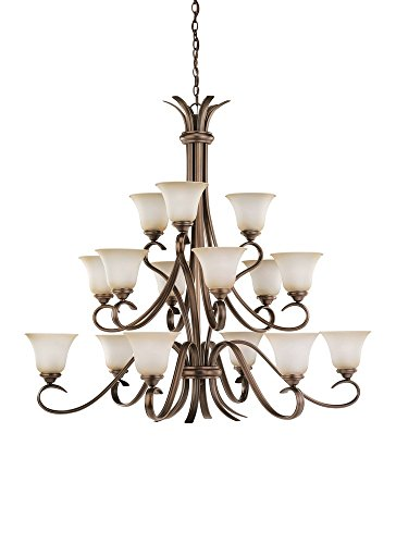Collection 15 Light Chandelier (Sea Gull Lighting 31363-829 Fifteen-Light Rialto Chandelier with Ginger Glass Shades, Russet Bronze Finish)
