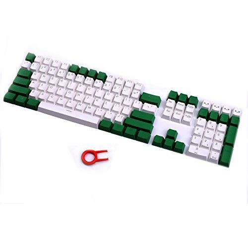 PBT Keycaps Backlit 108Key Set Doubleshot Translucent Cherry MX Key Caps Top Print with Keycaps Puller for 87/104/108 MX Switches Mechanical Gaming Keyboard (Green White -