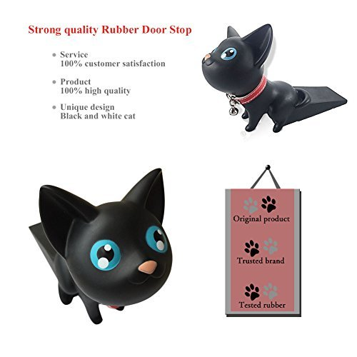 Cute Cat Door Stopper Wedge Finger Protector,  Works on All Surfaces, Non Scratching, Strong Grip (Black)