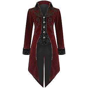 BODOAO Mens Halloween Tailcoat Jacket Goth Steampunk Uniform Costume Praty Outwear Coat