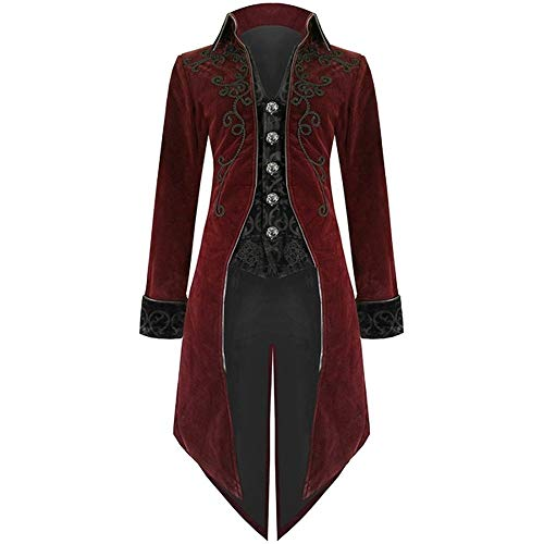 Hanican Fashion Mens Coat Swallowtail Stage Long Jacket Gothic Steampunk Lapel Uniform Outwear, Red, M]()
