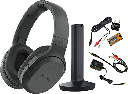 Sony Wireless RF Headphones, Zonoz 6FT Stereo Audio Y Cable Splitter & Worldwide Voltage 110V/220V AC Adapter, Zonoz International Two-Prong Round Pin Plug Adapter (Bundle) ()