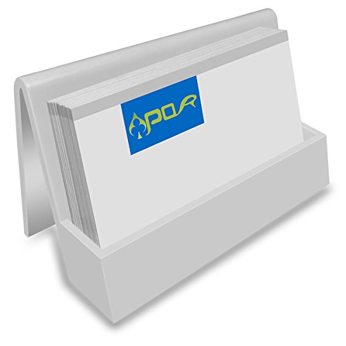 Apor PS Office Business Card Holder Name Card Display Business Card Stand for Desk (White)