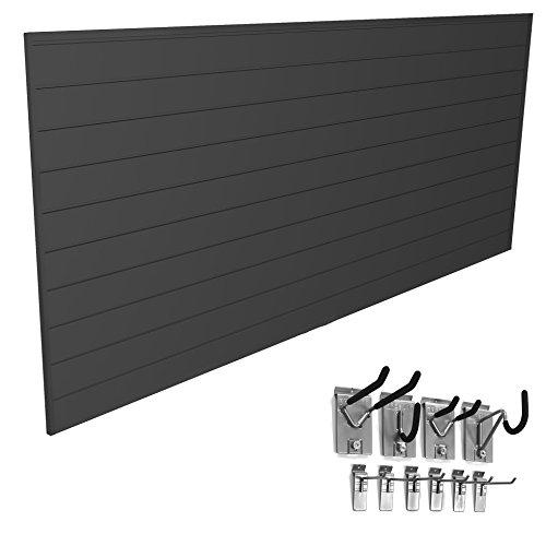 Proslat 33007 Mini Bundle with Slat Wall Panels and Mini Hook Kit, Charcoal by Proslat