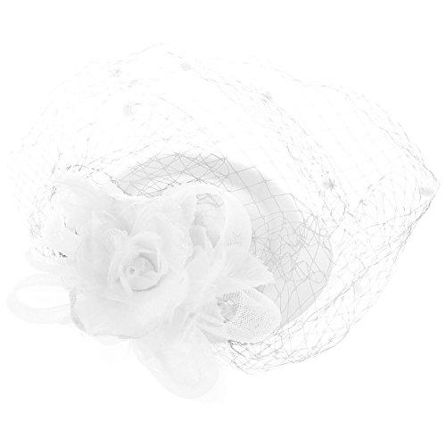 SODIAL(R) Hair Clip Headband Pillbox Hat Bowler Feather Flower Veil Wedding Party Hat White -
