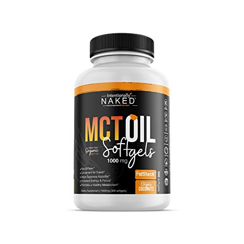 300 Organic C8/C10 MCT Oil Capsules - Keto, Paleo, Low Carb – Faster Metabolism, Ketosis, Sustainable Focus & Energy – Great for Travel - Flavorless, Non-GMO, BPA Free Bottle, 1000mg's per Softg