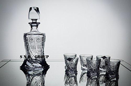 BOHEMIA CRYSTAL GLASS VODKA SET 1+6 ''Quadro'' HAND CUT DECANTER 16oz. + 6 SHOTS GLASSES 2oz. VODKA COGNAC BRANDY WHISKEY GLASSES VINTAGE DESIGN ELEGANT CENTERPIECE CLASSIC CZECH CRYSTAL GLASS by AURUM