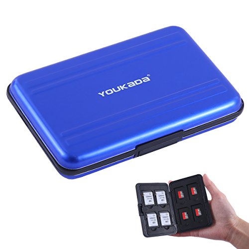 Pocket Card Memory (YOUKaDa Metal Memory Card Case Holder Water-resistant Pocket-sized SD holder for 8 SD Cards & 8 Micro SD Cards (Blue))