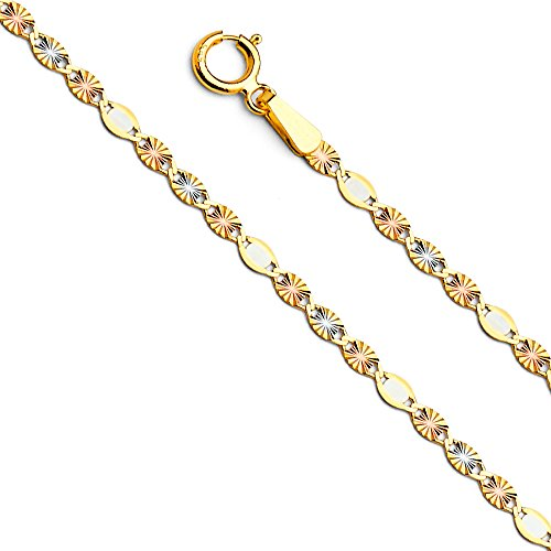 14k Tri Color Gold Solid 2mm Flat Valentino Star Diamond Cut Chain Necklace with Spring Ring Clasp - - Tri Star Color