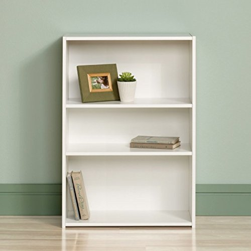 Sauder Small Modern 3 Shelf Bookcase - Small, Mini and Narrow Bookcase for Home or Office - Place It in Every Corner in Your House - Low Bookcase - Perfect for Kids - Modern Style -Can Store Books, Files, Cd, Dvd - White Color - Made in the USA! (Tv Bookcase Space With)