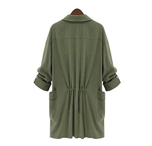 Taille Dcontracte Et Grande ZKOO Longues Veste Femme Printemps Coat Arme Trench Manches Manteau Automne zqwnaUF