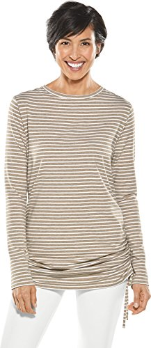 Coolibar UPF 50+ Women's Summer Cover-up - Sun Protective (XX-Large- Dark Taupe/White)