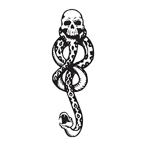 Dark Mark Death Eater Temporary Tattoos, 4 Sheets Halloween Skull Temporary Tattoos for Party Cosplay Accessories (Black) (Tattoo Of Death)