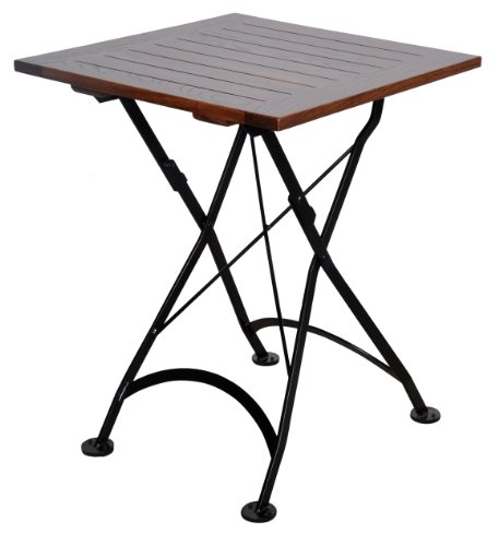 Mobel Designhaus French Café Bistro Folding Table, Jet Black Frame, 24'' x 24'' x 29'' Height, Square European Chestnut Wood Slat Top with Walnut Stain by Mobel Designhaus