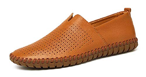 Shoes Shoes Driving JiYe Loafer On Hollow Brown Slip Leather Soft Genuine Men's xqvIvST1