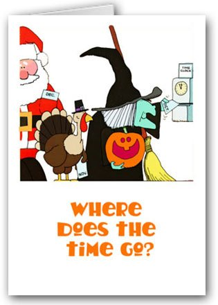 Where Does the Time Go Cute Halloween Card - 18 Cards & Envelopes]()