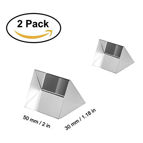 Optical Glass Triangular Prism, 2 Pack 1.97 Inch Crystal Rainbow Maker for Photography Science Experiments Physics Teaching Light Spectrum