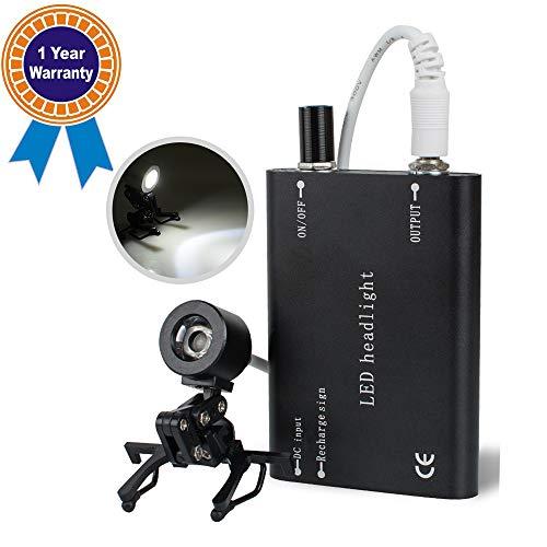 Denshine Black Dental Headlight, Surgical Headlamp, LED Head Light Lamp with Universal Clip for Dental Medical Binocular Loupes from Denshine